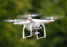 Flying drone. Drone flying in the air stock photography