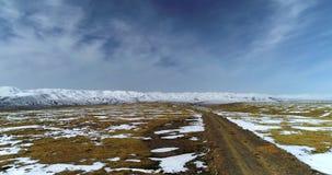 Cart track on the Tibetan Plateau stock footage