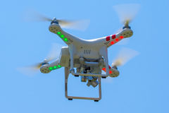 Flying drone with blue sky Stock Photo