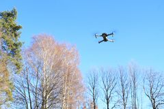 Flying drone with camera Royalty Free Stock Images