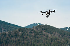 Flying drone with camera royalty free stock photo