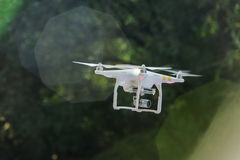 Flying drone with camera Stock Image