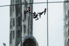 Flying drone with camera stock photo