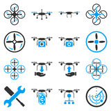 Flying drone flat bicolor icons Stock Photo