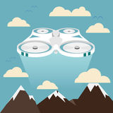 Flying drone illustration. Flying drone over mountains illustration Royalty Free Stock Photo