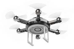 Flying drone isolated on white Stock Image