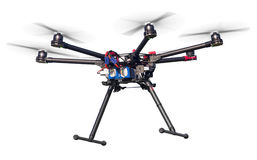 Flying drone isolated on white Royalty Free Stock Photography
