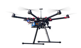 Flying drone isolated on white royalty free stock images