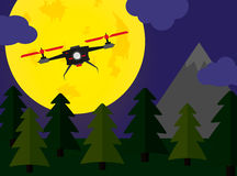 Flying drone night forest scene with fullmoon Stock Photography