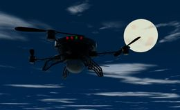 Flying drone by night Royalty Free Stock Images
