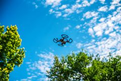 Flying drone over the tree royalty free stock photos
