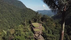 Wide drone view of the Lost City ancient site in Colombia, and the mountains