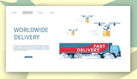 Flying Drone with Parcel. Express Delivery Truck. Airdrone Carrying Cardboard Package. Grey Supply Truck with Title on Side. Worldwide Fast Shipping. Flat stock illustration