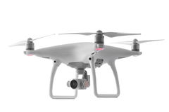 Flying drone quadcopter isolated on white. Background royalty free stock image