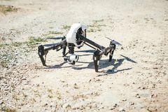 Flying drone quadcopter at the start. Stock Image