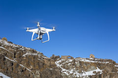 Flying drone on rock nature. Near Tunckaya village of Kars, Turkey Royalty Free Stock Image