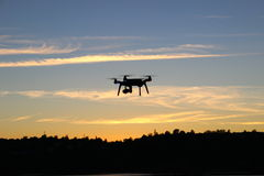 Flying Drone Silhouette royalty free stock images