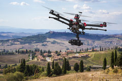 Flying drone in the skies of Tuscany Royalty Free Stock Images
