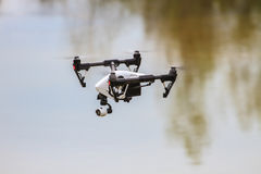 Flying drone on the sky Royalty Free Stock Photo
