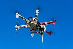 Flying drone in the sky Royalty Free Stock Photo
