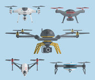 Flying drones collection. Vector illustration. Remote aerial drones with digital cameras. Air quadrocopters collection. Modern flying copters with action Royalty Free Stock Photography