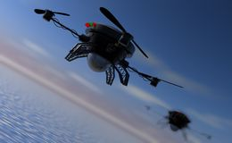 Flying drones investigating water surface Royalty Free Stock Photography