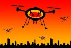Flying drones Stock Photo