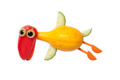 Flying duck made of vegetables stock image