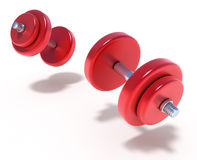 Flying Dumbbells on the white Royalty Free Stock Images