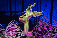 """Flying in Dunhuang-Dance drama """"The Dream of Maritime Silk Road"""". Dance drama """"The Dream of Maritime Silk Road"""" centers on the plot of two generations of Stock Photos"""