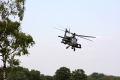 Flying dutch Apache attack helicopter. The royal netherlands air force has Apache AH-64D attack helicopters. The AH-64 Apache is a four-blade, twin-engine attack Stock Photo