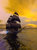 The Flying Dutchman. According to folklore, is a ghost ship that can never go home, doomed to sail the oceans forever.  is usually spotted from far away Royalty Free Stock Images