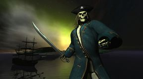 Flying Dutchman. Digital render of the ghost ship The Flying Dutchman and her skeleton captain Royalty Free Stock Image