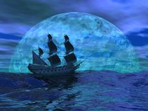 Flying dutchman boat by night - 3D render. Flying dutchman boat floating on the ocean in front of a very big full moon by night Stock Photography