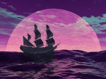 Flying dutchman boat by night - 3D render. Flying dutchman boat floating on the ocean in front of a very big full moon by violet night Stock Image