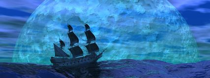 Flying dutchman boat by night - 3D render. Flying dutchman boat floating on the ocean in front of a very big full moon by night Royalty Free Stock Image
