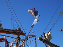 Flying Dutchman. Detail of a Dutch sailing ship during a sailor meeting on a summer day stock image