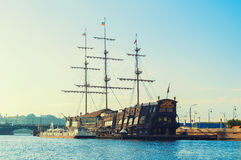 Flying Dutchman - three-mast sailboat and restaurant on the water in St Petersburg, Russia Royalty Free Stock Image