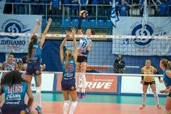 Flying  E. Gamova (Dynamo (KZN) 11. MOSCOW, RUSSIA - DECEMBER 2: E. Gamova (Dynamo (KZN) 11, while playing on women's Rissian volleyball Championship game Dynamo Stock Photo