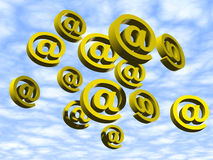 Flying E-mails. Flying E-mail signs Royalty Free Stock Image