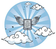 Flying e-reader with wings Stock Images