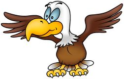 Flying Eagle. Colored cartoon illustration vector illustration