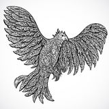 Flying eagle with decorative ornament. Tattoo art. Retro banner, invitation,card, scrap booking. Stock Images