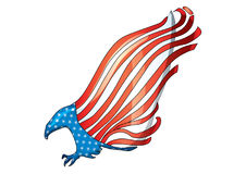 Flying eagle flag USA American bald eagle flag vector. The flying eagle is the symbol of America`s freedom Stock Photography