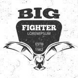 Flying eagle grunge emblem or logo. White and grey eagle vector banner illustration stock illustration