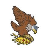 Flying eagle holding a pizza. Vector illustration vector illustration