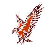 Flying Eagle. Illustration of red flying eagle, eagle tattoo, vector illustration stock illustration