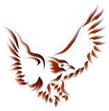 Flying eagle. Line art brush stroke flying eagle image vector illustration