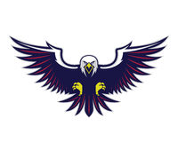 Flying eagle mascot. Clipart picture of a flying eagle cartoon mascot logo character Royalty Free Stock Images