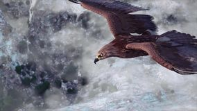 Flying eagle with Mountains and sky stock footage